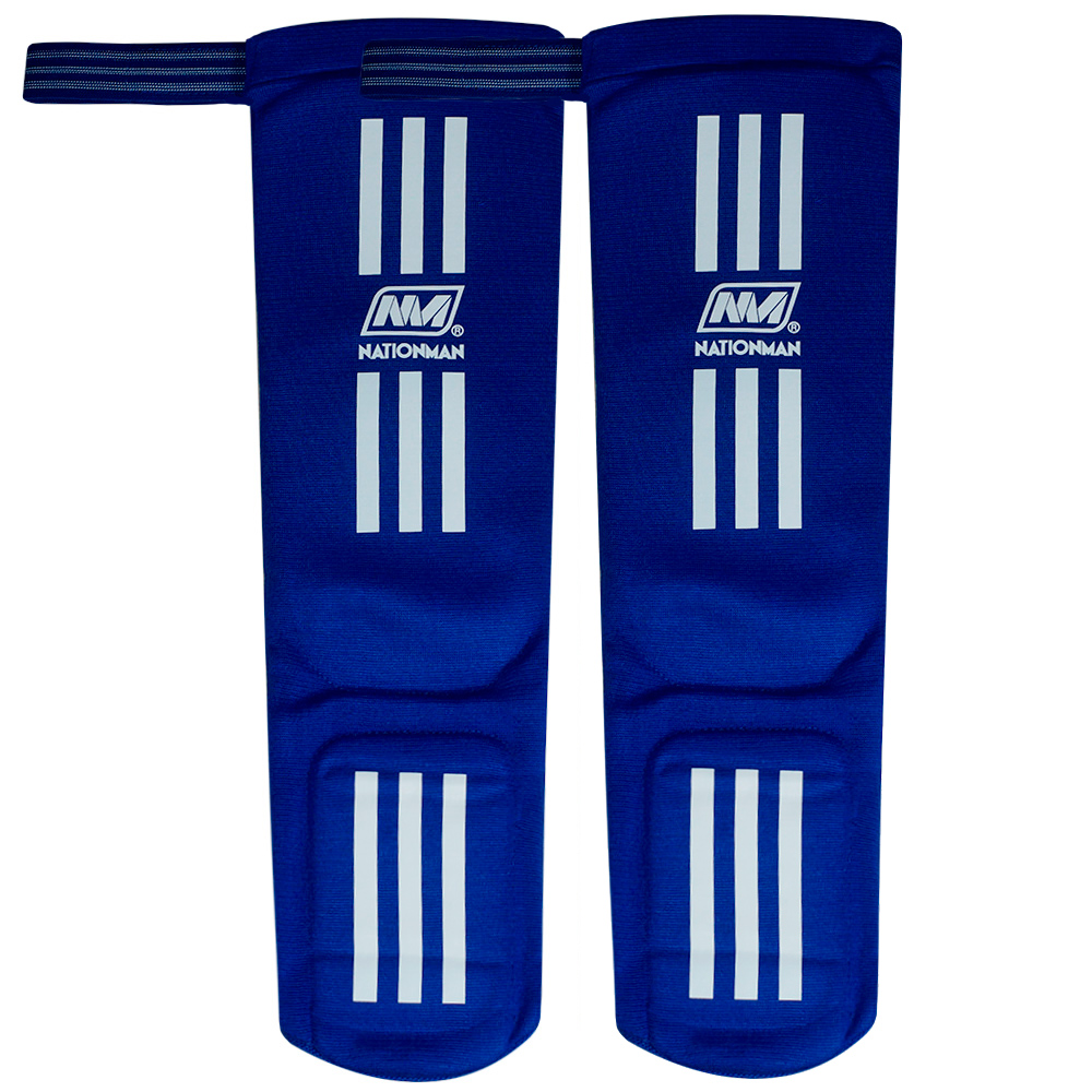 SHIN GUARDS NATIONMAN ELASTIC COMPETITION BLUE