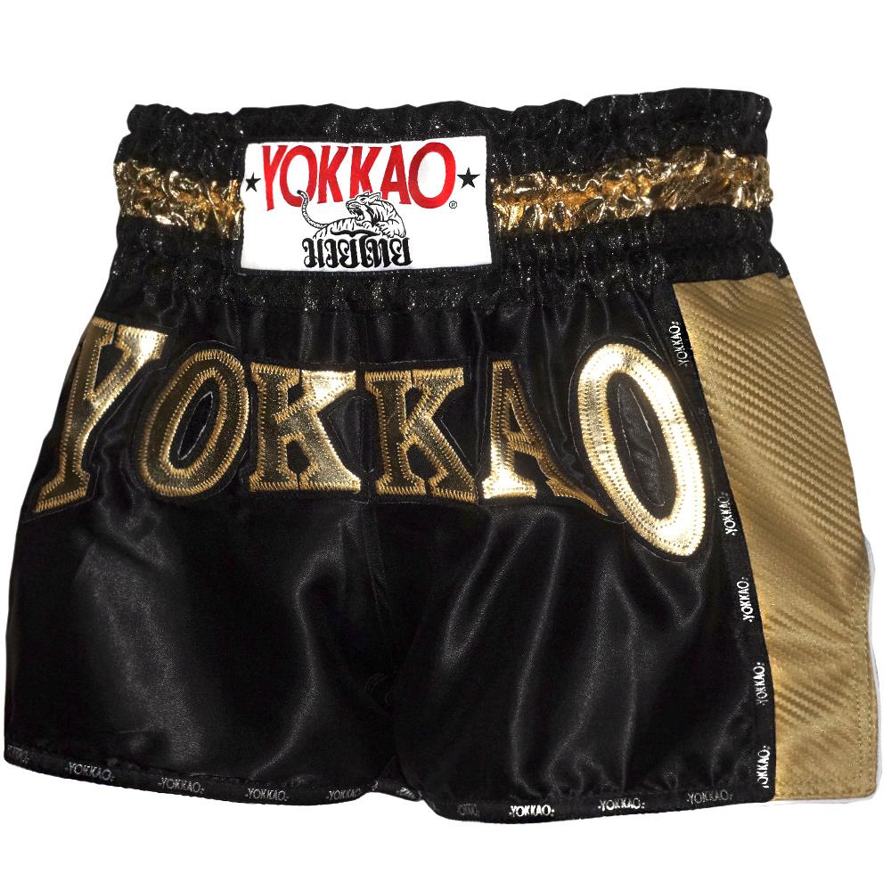 MUAY THAI BOXING SHORTS YOKKAO CARBON BLACK SIZE S