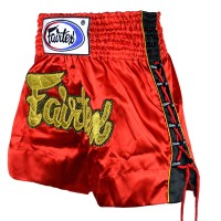 MUAYTHAIBOXING SHORTSFAIRTEX BS-0602 RED SIZE S