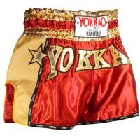 MUAY THAI SHORTS YOKKAO CARBON RED SIZE XL