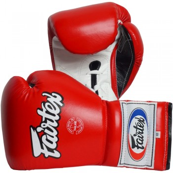BOXING GLOVES FAIRTEX  BGL7 PRO TRENING MEXICAN STYLE LACE UP RED-WHITE