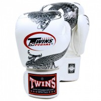 BOXING GLOVES TWINS SPECIAL FBGV-23 DRAGON  WHITE-SILVER