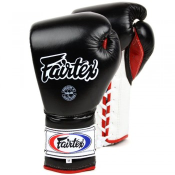 BOXING GLOVES FAIRTEX  BGL7 PRO TRENING MEXICAN STYLE LACE UP BLACK