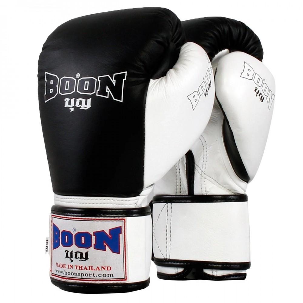 BOXING GLOVES BOON BGCW COMPACT VELCRO BLACK-WHITE