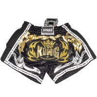 TOP KING MUAY THAI SHORTS TKRMS-006 BLACK RETRO STYLE
