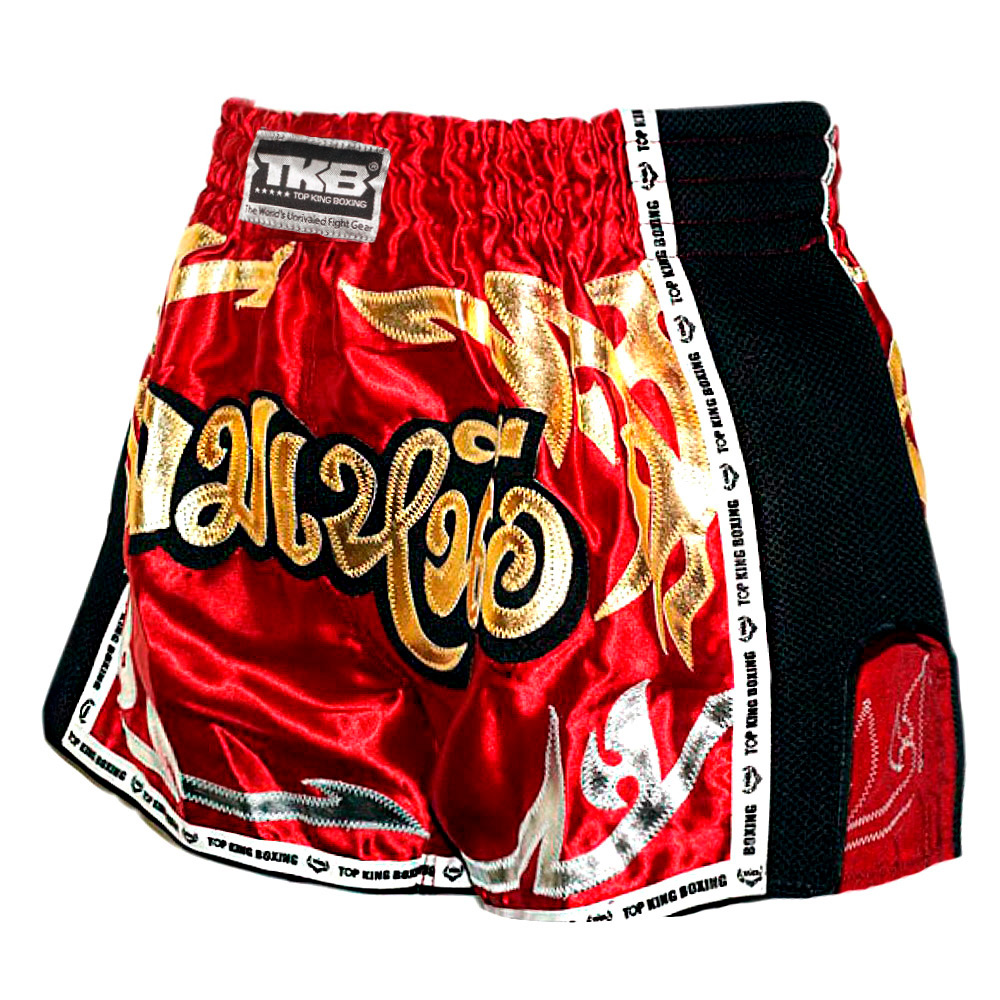TOP KING MUAY THAI SHORTS TKRMS-006 MAROON RETRO STYLE