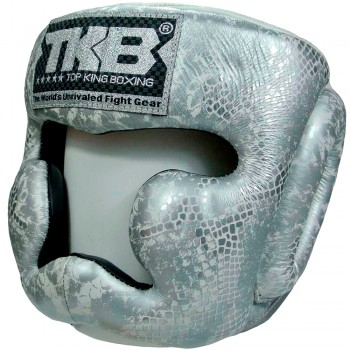 BOXING HEADGEAR TOP KING TKHGSN SNACKE WHITE-SILVER