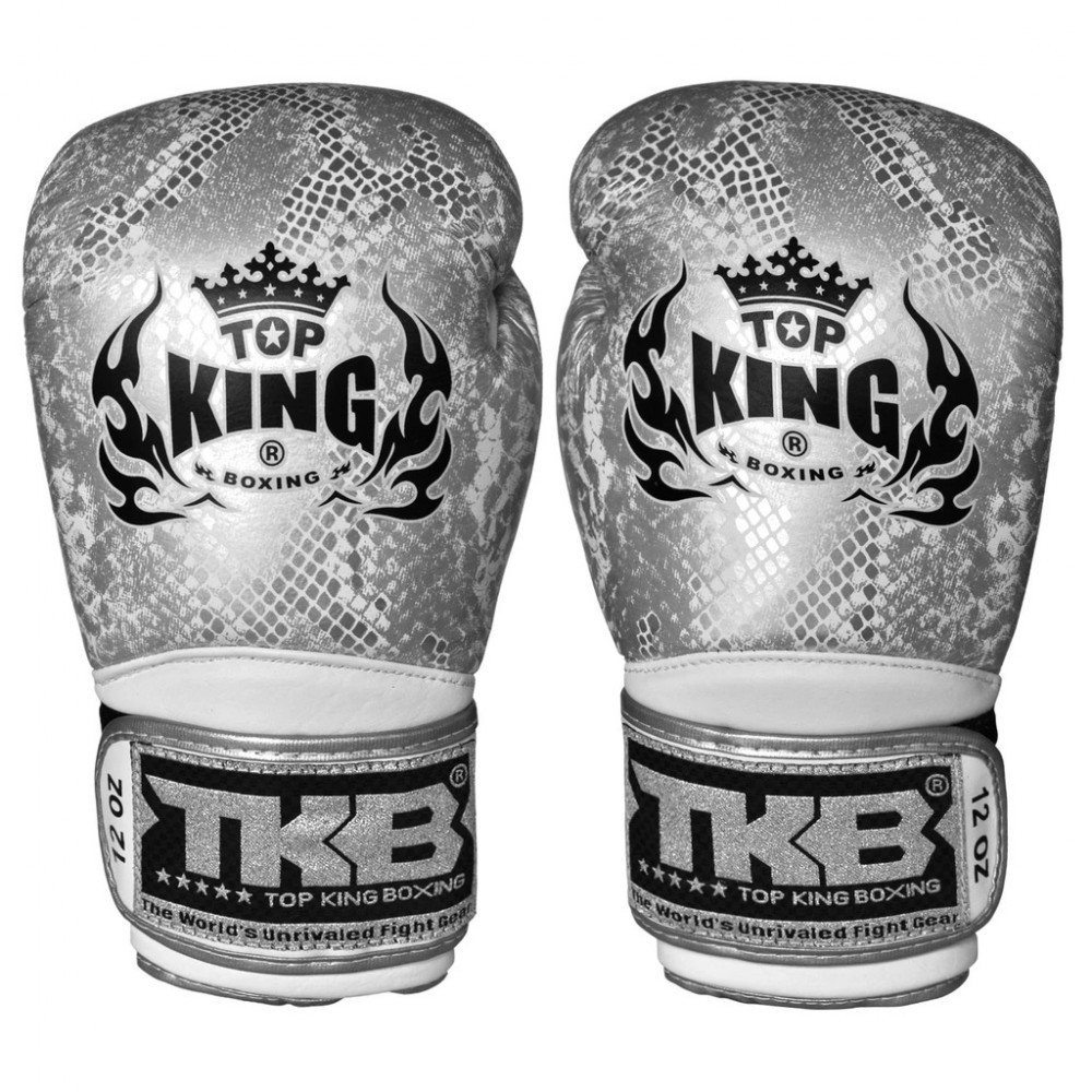 BOXING GLOVES TOP KING SNAKE TKBGSS-02 SILVER WHITE