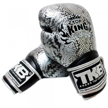 BOXING GLOVES TOP KING SNAKE TKBGSS-02 SILVER BLACK