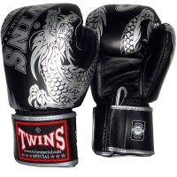 BOXING GLOVES TWINS SPECIAL FBGV-49 NEW DRAGON BLACK-SILVER