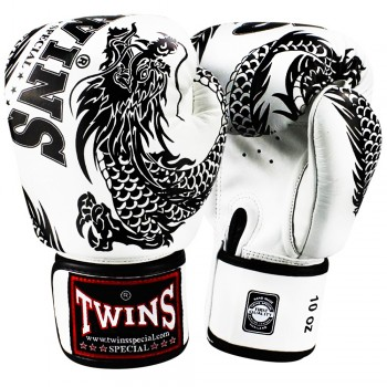 BOXING GLOVES TWINS SPECIAL FBGV-49 NEW DRAGON  WHITE-BLACK