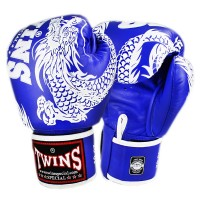 BOXING GLOVES TWINS SPECIAL FBGV-49 NEW DRAGON  BLUE-WHITE