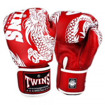 BOXING GLOVES TWINS SPECIAL FBGV-49 NEW DRAGON  RED-WHITE