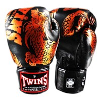 BOXING GLOVES TWINS SPECIAL FBGV-49 NEW DRAGON BLACK-BRONZE