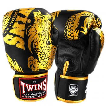 BOXING GLOVES TWINS SPECIAL FBGV-49 NEW DRAGON BLACK-GOLD