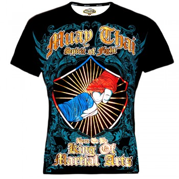 """T-SHIRT MUAY THAI BOXING BORN TO BE COTTON  Color """"2 Fist"""""""