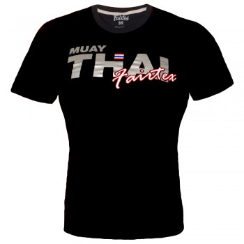 T-SHIRT FAIRTEX TST-178 MUAY THAI COTTON BLACK SILVER