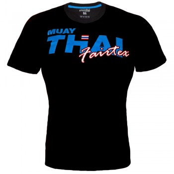 T-SHIRT FAIRTEX TST-178 MUAY THAI COTTON BLACK BLUE