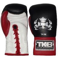 BOXING GLOVES TOP KING LACE UP BLACK-WHITE-RED