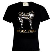 T-SHIRTS MUAY THAI HUMAN FIGHT COTTON HN-139 BLACK