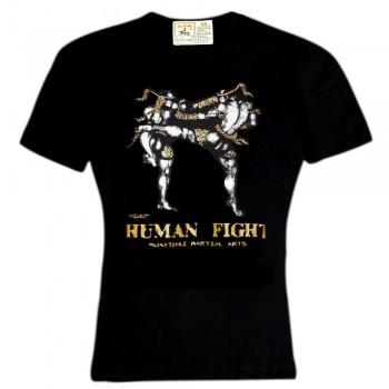 T-SHIRT MUAY THAI BOXING HUMAN FIGHT COTTON HN-139 BLACK