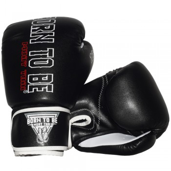 BOXING GLOVES BORN TO BE BLACK REAL LEATHER
