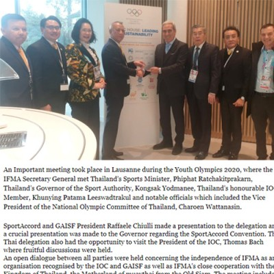 IFMA SECRETARY GENERAL MEETS THAI SPORTS MINISTER IN LAUSANNE