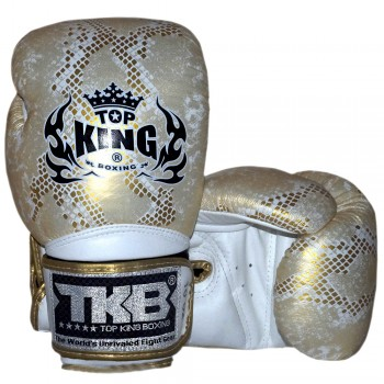 BOXING GLOVES TOP KING SNAKE TKBGSS-02 GOLD WHITE