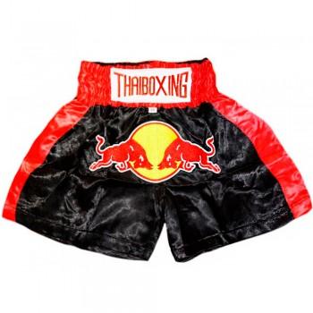 Thai Shorts For Kids Thaiboxing TBK-02 Red Bull Black