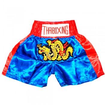 Thai Shorts For Kids Thaiboxing TBK-01 Dragon Super Blue