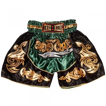 THAI SHORTS FOR KIDS THAIBOXING TBK-06 GREEN GOLD