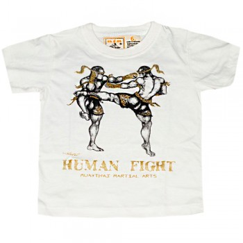 T-SHIRTS MUAY THAI FOR KIDS HUMAN FIGHT 001 WHITE