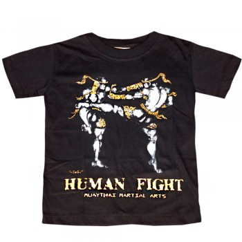 T-SHIRTS MUAY THAI FOR KIDS HUMAN FIGHT 001 BLACK