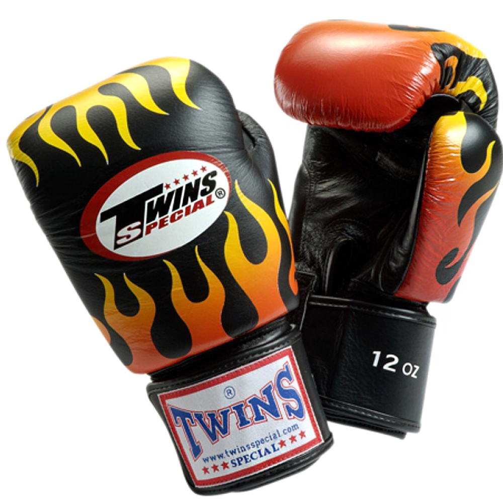 BOXING GLOVES TWINS SPECIAL FBGV-7 BLACK FIRE FLAME