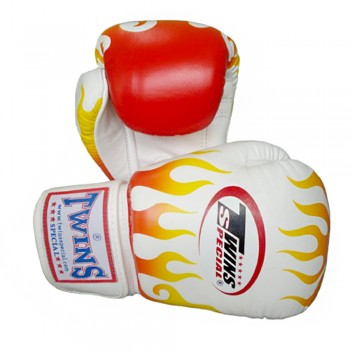 BOXING GLOVES TWINS SPECIAL FBGV-7 WHITE FIRE FLAME