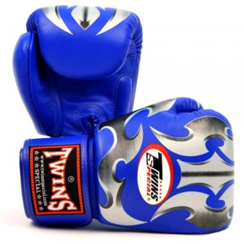 BOXING GLOVES TWINS SPECIAL FBGV-22 BLUE SILVER ROMAN