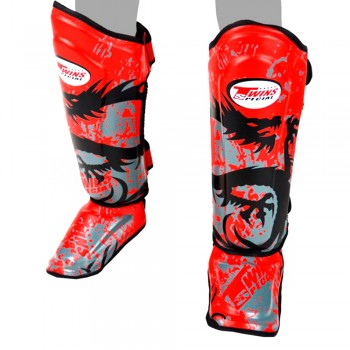 SHIN GUARDS TWINS SPECIAL FSG-36 RED TRIBAL DRAGON