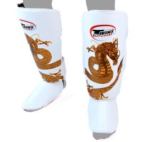 SHIN GUARDS TWINS SPECIAL  FSG-23 WHITE GOLD DRAGON
