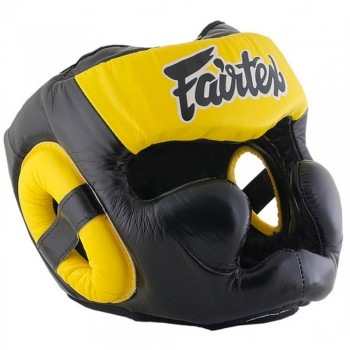 Boxing Headgear Fairtex HG13 Black-Yellow