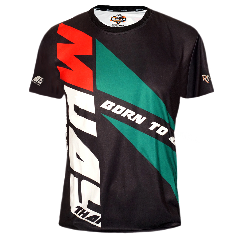 """T-SHIRT MUAY THAI BOXING BORN TO BE TECH QUICK DRY WICKING COLOR """"MUAY DIAGONAL"""""""