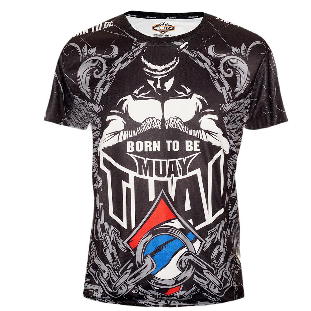 "T-SHIRTS MUAY THAI ""BORN TO BE"" TECH QUICK DRY WICKING COLOR ""FIGHTER WRAPS"""