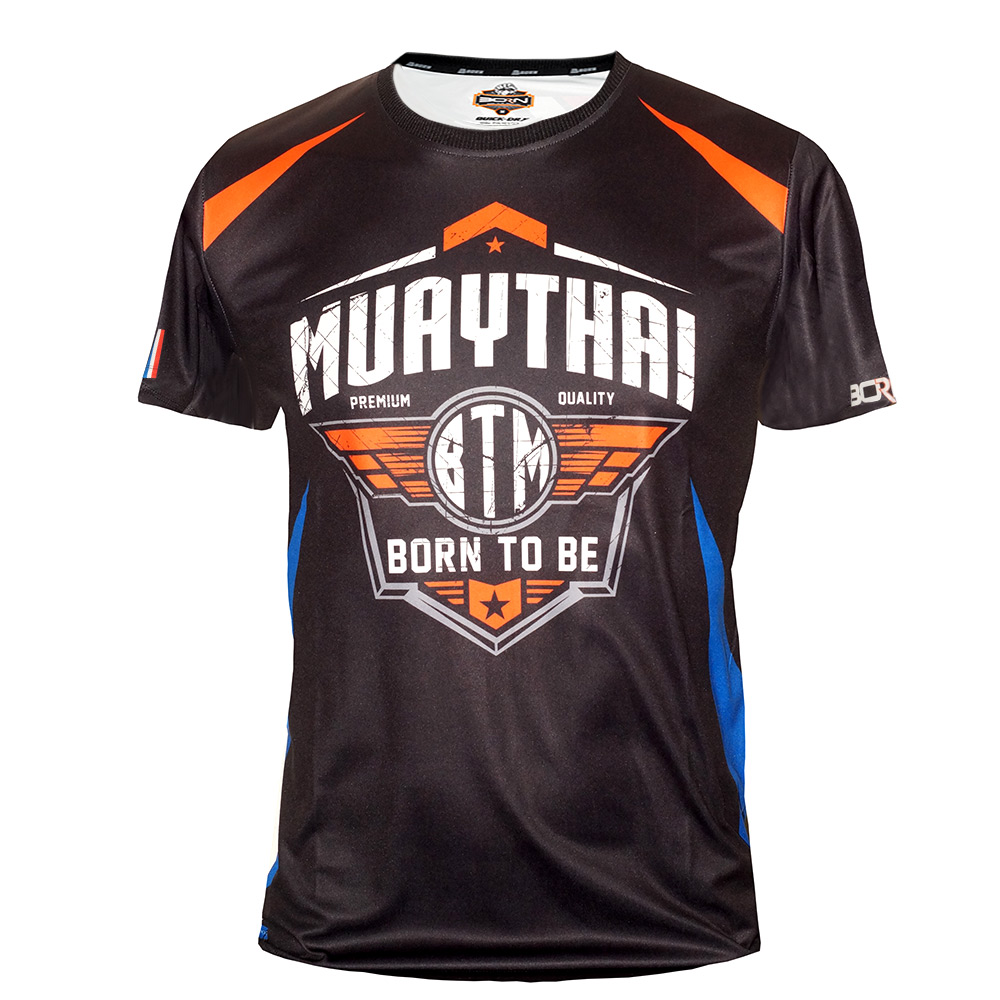 "T-SHIRTS MUAY THAI ""BORN TO BE"" TECH QUICK DRY WICKING COLOR  ""SHIELD BTM"""