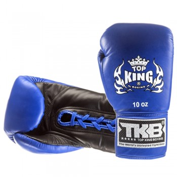 BOXING GLOVES TOP KING TKBGPL LACE UP BLUE-BLACK